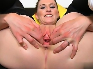 Horny girl creampie cleanup