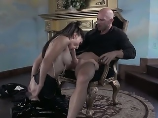 Brunette porn star Cytherea fucks Johnny Sins in the mansion