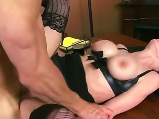 Dark haired hot MILF Veronica Avluv in sexy black lingerie is a sex starved...