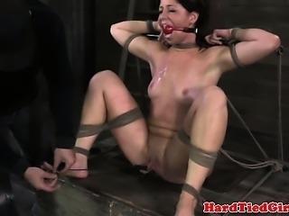 Ballgag restrained sluts pussy stretched