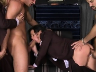 CFNM stewardesses assfucked before facials