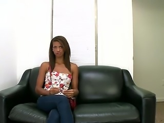 Casting couch with a hot ebony teen. She wants to become a porn goddess, but...