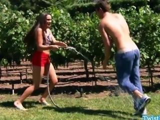 Teal Conrad fucks outdoors before cumswallow