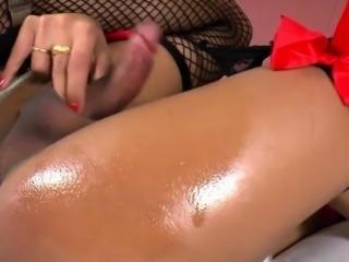 Massive boobs shemale Michelle masturbates her hard shaft