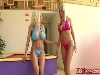 Nikki Benz & Gina Fuck a Peeping Tom in Big Tit 3some! free