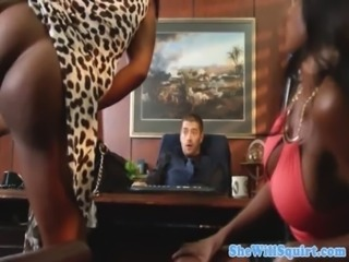 Squirting ebony babes make guys office messy free