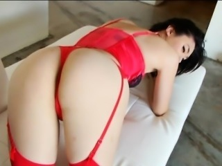 Hot asian shemale Yuri Myeon in red lingerie solo play