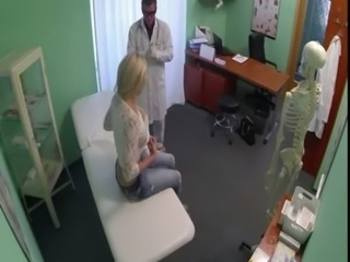 Doctor with gloves finger fucking blonde in office free