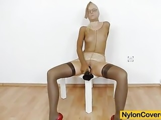 """Beautiful Gemma covered in nylon and masturbating"""
