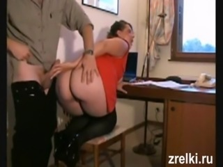 Mature wife in stockings with big ass was fucked hard in anal on table free