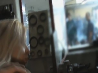 Pretty Blonde Doggystyled In Public Auto Repair Shop