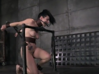 Gagged sub dildofucked while restrained