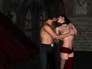 Animated vampire slut enjoys hard shaft