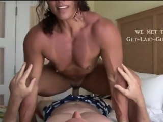 Female bodybuilder riding his face and cock