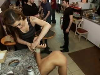 Waitress tied up and fucked in the cafe