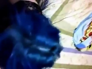 Emo Slut With Blue Hair Sucks Cock