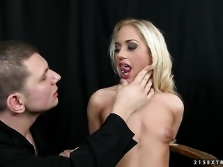 Teen stunner Melon getting throat pounded for your viewing enjoyment