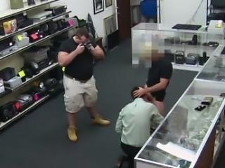 Gay male porn sex in a repair shop Public gay sex