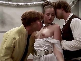 Allie Haze is in a threesome in a Star Wars parody scene. She is doing it...
