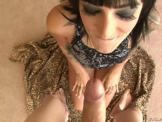 Gorgeous brunette Presley Maddox with rich make-up gives a sensual blowjob to...