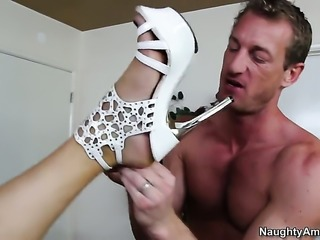 Ryan Mclane pops out his snake to fuck devilishly sexy Natasha Vegas love tunnel