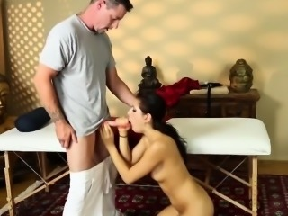 Perv massages Nikki Knightly throat with his hefty bone
