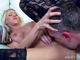 I was waiting for my friend. Suddenly, his wife Katie, came in sexy lingerie...