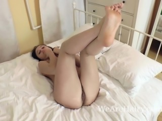 Rene models by mirror and strips naked in bed
