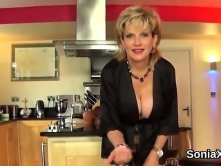 Adulterous british milf lady sonia pops out her monster knoc