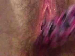 Fat Hairy bitch toys pussy with hairbrush