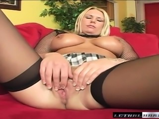 Curvy blonde cocksucker gets her bald pussy drilled by a thick black dick