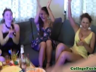 Euro freshmen babes lingerie toy sex party