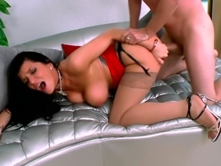 Horny huge tits boss cries on couch doggy sex