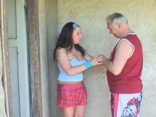 Brunette teen hooks up with an old guy