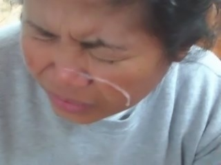 Filipina wife gets fast blasted with cum