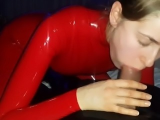 red latex wife blowjob