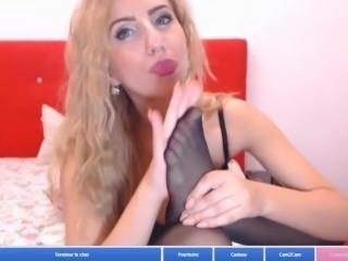 blond in lingerie lick her nylon feet