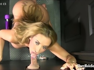 Booty babe in a gloryhole swallows cum