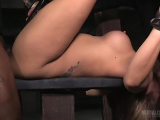 Angel Allwood was tied up and the master, Jack Hammerx, put a vibrator on her...