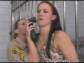 This female cop has a foot fetish and checks this girls toes really good