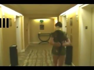 Tied Slave helpless in hotel hallway