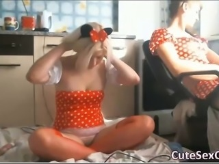 3 Adorable Amateur Teens Shows Butts with Toys on Webcam