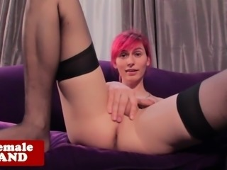 Masturbating transsexual plays with her ass