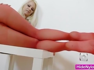 Blondie babe Gemma shows off red pantyhose