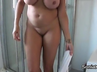 Adulterous english mature lady sonia showcases her giant pup