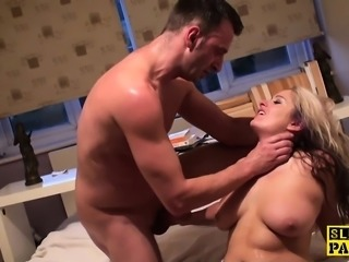 Submissive british slut Kaz made to squirt