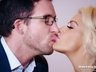 Yummy blond filth Tia Layne sucks her 4 eyed buddy off and then gets her...