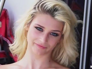 Petite blond hooker Aubrey Gold is gonna suck her buddy off on the yacht