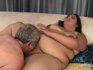 Fat brunette has a horny old man roughly drilling her tight anal hole