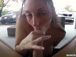Super busty adorable milf Melanie Hicks gives blowjob and titjob on a pov camera